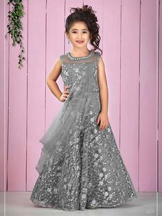 Shop Grey hue net fabric pretty designer floor length gown online from India. Girls Frock Design, Kids Frocks Design, Baby Dress Design, Frocks For Girls, Gowns For Girls, Dresses Kids Girl, Simple Gown Design, Kids Party Wear Dresses, Party Gowns
