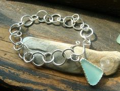 Etsy - Blue as the Aegean Seaglass Charm Bracelet - Fine Sterling Silver