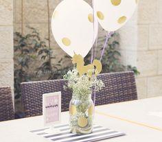 Balloon and flower centerpiece from a Starry Unicorn Birthday Party on Kara's Party Ideas | KarasPartyIdeas.com (11)