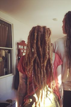 Having long hair to start with makes for super long dreads when extensions are sewn in