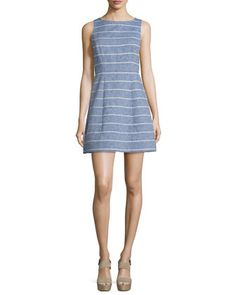 Alice + Olivia: Lindsey Structured Striped Dress, blue and white stripes | perfect nautical dress for spring and summer