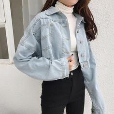 Outfits 2018 Frauen Basic Short Jeansjacke Mädchen Mantel Jeans Jacken Damen Lo - rodewe wholesale s Outfit Jeans, Cropped Denim Jacket Outfit, Denim Jacket Outfit Winter, Cute Jean Jacket Outfits, Adidas Outfit, Khaki Pants, Coats For Women, Jackets For Women, Stylish Clothes