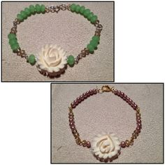 2 new bracelets I made just now.  Love the center piece!