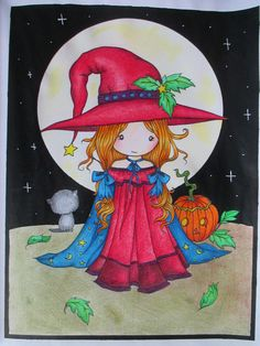 Whimsical Halloween Coloring Book: Witches, Vampires Kitties and More a progresso aquarell