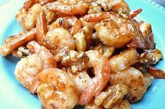 a dish with two sticks: Honey Walnut Shrimp エビとクルミのハチミツソース
