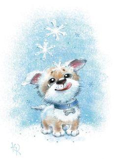 Просмотреть иллюстрацию Первый снег из сообщества русскоязычных художников автора Корякина Юлия в стилях: Детский, нарисованная техниками: Смешанная техника.