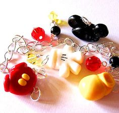 Mickey Mouse Body Parts Beads Charm Bracelet Ears Glove Shorts Shoe Disney Jewelry