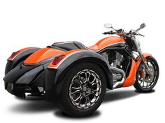 Harley-Davidson V-Rod Series Trike Conversion. Love the black and orage paint. Wow!!
