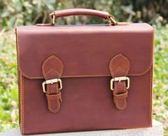 Vintage Handmade Leather Briefcase / Satchel / Messenger Bag / Case