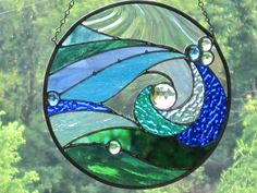 Ocean Wave Stained Glass Round Panel