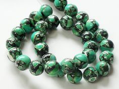 Green Mosaic Round Ball Gemstone Beads/ 7.5 Strand  by BijiBijoux, https://www.etsy.com/listing/84709841/green-mosaic-round-ball-gemstone-beads