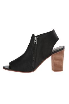 """Zipper closure. Peep toe with exposed heel. Leather lining. Lightly cushioned leather insole. Stacked chunky heel. Synthetic sole.  Measurements: Heel Height: 3""""Weight: 12 oz; Platform Height: 0.25""""  Sancia Heel by Sbicca. Shoes - Sandals - Heeled Louisiana"""