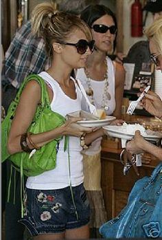 Spring 2005 Balenciaga City Motorcycle Bag in Apple Green worn by Nicole Richie.