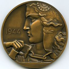 Liberation of Prisoners of War Medal, 1944. Pierre Turin, Sc. (1891-1968). Struck by the Monnaie de Paris (Paris Mint). Edge incused BRONZE with Cornucopia mint hallmark.Obverse: with high-relief Art Deco stylized female head facing left; wearing a Phrygian bonnet/cap, a symbol of the French Revolution, her right hand clutching broken shackles. | eBay!