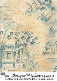 TOILE-16400CloseUp | China Chinoiserie Toile Wall Scenic Wallpaper