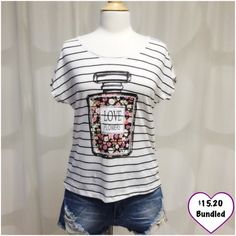 Perfume Bottle Tank Closet fav! Love Flowers perfume bottle top. Really cute and comfy! Soft! This item is available. Don't forget to check out my Deal of the Month listing! April Spirit Tops Tees - Short Sleeve
