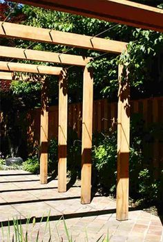 Contemporary wood pergola wired for climbers
