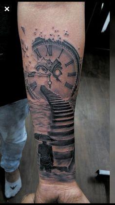 Arm Tattoos For Guys Forearm, Half Sleeve Tattoos For Guys, Leg Sleeve Tattoo, Tattoo Sleeve Designs, Shoulder Tattoo, Daddy Tattoos, Time Tattoos, Body Art Tattoos, Braille Tattoo