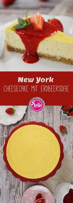 New York Cheesecake mit Erdbeersoße / extra cremig Here it is, the incredibly creamy New York cheesecake with a base of oatmeal cookies and the creamy cream cheese topping with vanilla and lemon. It is served with a strawberry sauce. Easy No Bake Cheesecake, Baked Cheesecake Recipe, Cheesecake Desserts, Chocolate Cheesecake, Pumpkin Cheesecake, Chocolate Recipes, Homemade Cheesecake, Vegan Cheesecake, New York Cheesecake Rezept