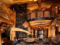 Great-room. White Spirt Lodge  British Columbia  $7500 per night  Pioneer Log homes...