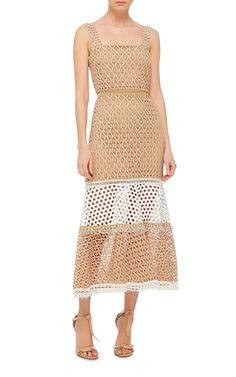 Shop Erin Fit-And-Flare Dress. This **Alexis** dress is rendered in variegated lace and features a square neck with scalloped shoulder straps, a fit-and-flare silhouette with a midi length hem, and a colorblock design at the skirt. Beige Lace Dresses, Spring Dresses, Women's Fashion Dresses, Fit And Flare, Peplum Dress, Two Piece Skirt Set, Skirts, Outfits, Clothes