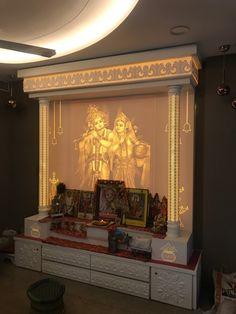Bedroom Pop Design, Gold Bedroom Decor, Home Room Design, Home Interior Design, Interior Decorating, Temple Design For Home, Mandir Design, Pooja Room Door Design, Letter Wall Decor