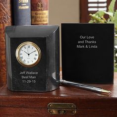 Groomsman Personalized Marble Clock - Wedding Gifts - Wedding Gifts
