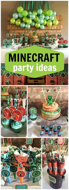 This Minecraft birthday party has awesome decorations! See more party ideas at… 9th Birthday Parties, Minecraft Birthday Party, Minecraft Cake, Birthday Bash, Minecraft Crafts, Minecraft Skins, Minecraft Houses, Birthday Ideas, Minecraft Bedroom