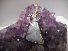 Angelite & .925 sterling silver wire wrapped  pendant. by NancysDesigns4you on Etsy
