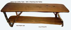 White Oak Coffee Table with Hard Maple legs  Set of 3, coffee table and 2 end tables 3/3