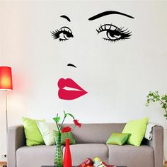sexy girl lip eyes wall stickers living bedroom decoration zooyoo8469 diy vinyl adesivo de paredes home decals mual art poster #Affiliate