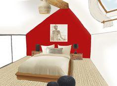 Maison sous les toits, combles aménagées, mur rouge, sol sisal, naturel Sisal, Architecture, Design, Red Walls, Attic Spaces, House, Arquitetura, Design Comics, Architecture Design