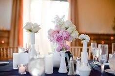 Similar idea except add in old vanity trays and some babies breath, waxflower, spray roses, etc :)