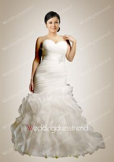 Wholesale and Retail Retro Empire Mermaid Sweetheart Beaded Ruffles Plus Size Bridal Gown - Beautiful Wedding Dresses Wholesale and Retail Online