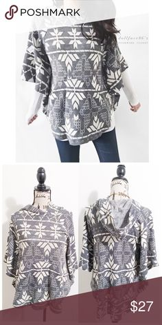 """Zara Grey & White Snowflake Hooded Poncho This knit poncho is super cozy & cute. It has a hood & looks cute layered with long sleeves. {actual color of item may vary slightly from pics}  *chest:(about)20"""" *waist:28.5"""" *length:27"""" *sleeves:16.5"""" *material/care:acrylic/machine wash  *fit:true, but billowy *condition:good no rips/stains  🌸20% off bundles of 3/more items 🌸No Trades  🌸NO HOLDS 🌸No transactions outside Poshmark  🌸No lowball offers Zara Sweaters Shrugs & Ponchos"""