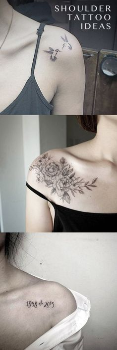 Small Delicate Shoulder Blade Tattoo Ideas for Women - Floral Flower Ideas Del Tatuaje - Sparrow Tatouage - Marriage Birthdate Idéias de tatuagem - www.MyBodiArt.com