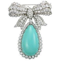 David Webb turquoise & diamond broach