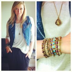 Daydreamer LA Tee + Vanessa Mooney Jewelry. Love the bracelet stacking
