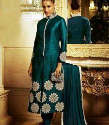 Buy Firozi silk embroidered semi stitched salwar with dupatta party-wear-salwar-kameez online