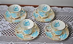 Four Royal Chelsea Demitasse Cups And Saucers, Blue Bird, Bird Of Paradise by Collectitorium on Etsy Cream And Sugar, Blue Bird, Cup And Saucer, Chelsea, Tea Cups, Paradise, Christmas Gifts, Gift Ideas, Tableware