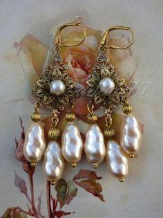 Victorian Cameo, baroque pearl chandelier earrings