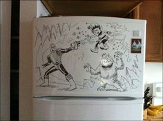 Drawings on the refrigerator