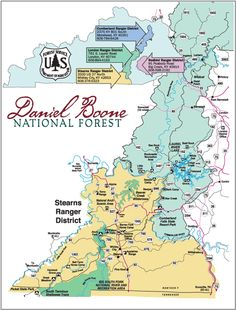 Kentucky map of daniel boone national forest red river for Daniel boone national forest cabins