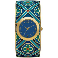 Medieval Quatrefoil Bangle Watch features a delicate cloisonne enamel quatrefoil pattern in shades of blue accented by a gold plated bezel