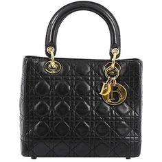 Preowned Christian Dior Lady Dior Handbag Cannage Quilt Lambskin... ($1,635) ❤ liked on Polyvore featuring bags, handbags, black, top handle bags, studded purse, handbag tote, tote handbags, christian dior purses and hand bags
