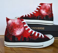 Adult Custom Hand Painted Converse Shoe, gothic, blood moon, graveyard,