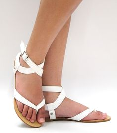 New Women JCA3 Black White Tan Gladiator Strappy Ankle Thong Flat Sandal 6 to 10 | eBay