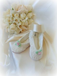 Lace Flower Girl ShoesLace Ballerina Flower by HopefullyRomantic