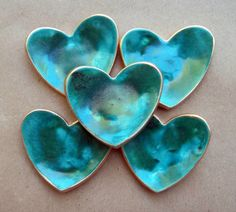 FIVE Ceramic Heart ring bowls Itty bitty Malachite Green edged in gold Baby shower bridal shower Handmade Stamps, Hand Built Pottery, Gold Baby Showers, I Love Heart, Paperclay, Polymer Clay Art, Clay Projects, Handmade Pottery, Malachite