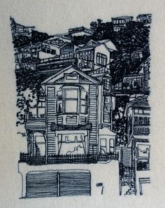 Textile art by Katherine Bertram, oriental parade, houses wellington. Freehand machine embroidery.